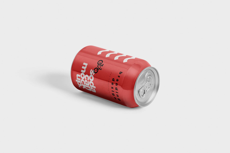 多角度可乐瓶子样机效果苏打水易拉罐样机Tin Soda Can Mockups