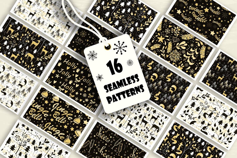 圣诞节设计动物雪花植物假期符号图案纹理背景Merry Christmas Holiday Pack