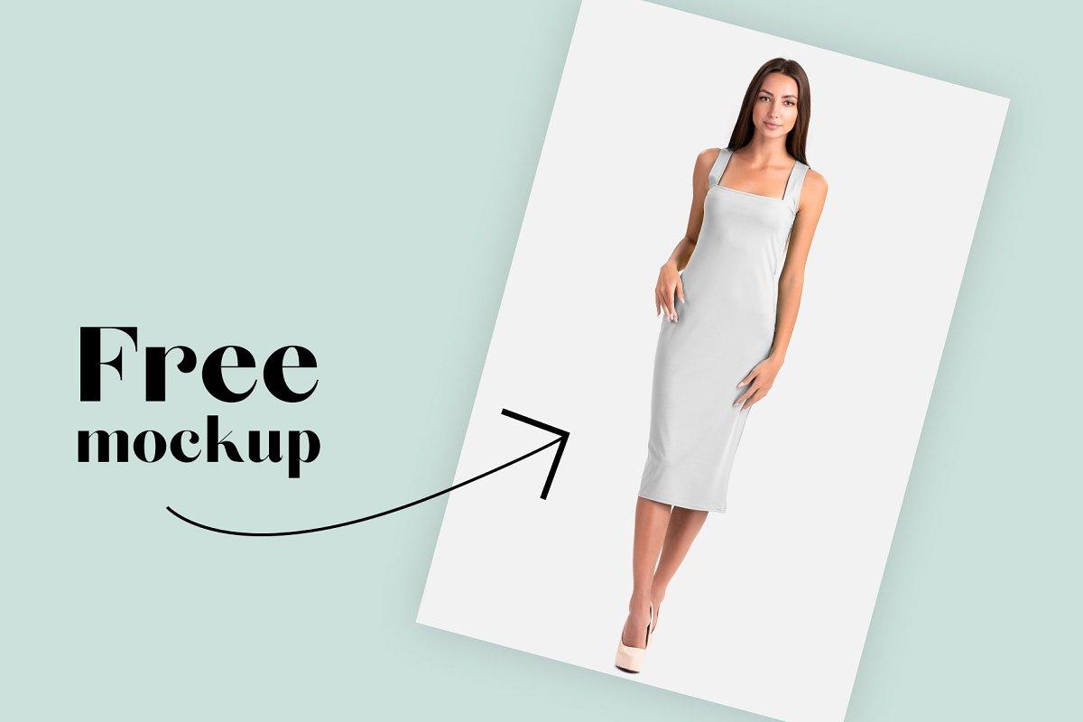女性直身裙子女人各角度展示礼服设计样机mockups合集Female Elegant Dress Mockup Set 4250201