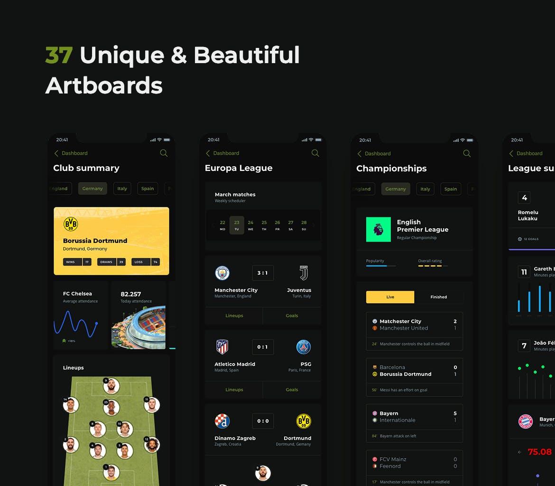 时尚高端专业的FIFA足球运动NBA篮球数据统计APP UI KITS设计模板soccer-mobile-app-dark-ui