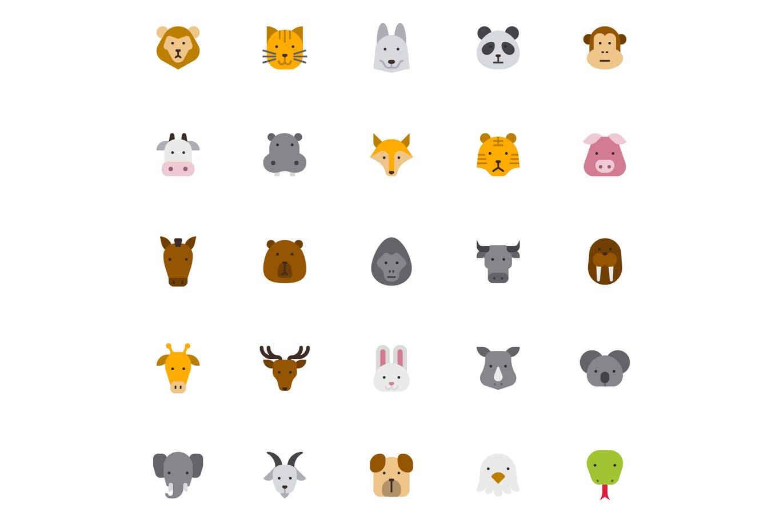 25个矢量ICONS图标熊鸟牛猫鹿狗大象狐狸长颈鹿山羊星星等动物元素图标Animal Dibujos animados