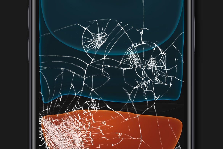 时尚高端逼真的手机屏幕破碎屏APP UI样机展示模型mockups broken-glass-screen-mockup