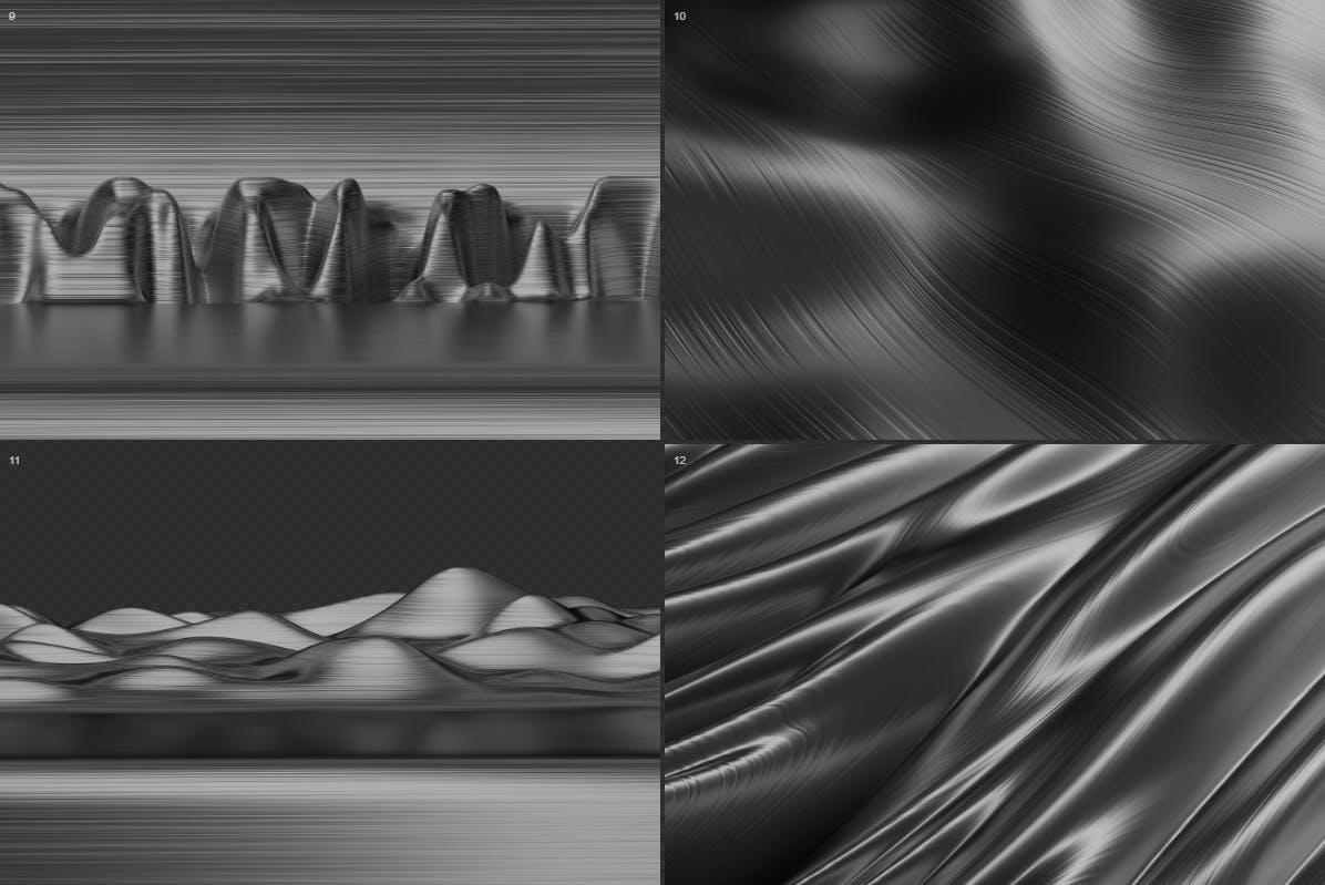 时尚高端逼真震撼的抽象3D波浪线金属背景底纹纹理大集合-银色 abstract-3d-wavy-lines-background-silver-color