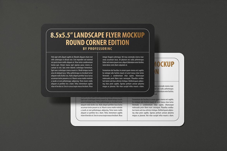 8.5×5.5景观圆角传单名片海报设计VI设计样机展示模型mockups 8-5x5-5-landscape-round-corner-flyer-mockup