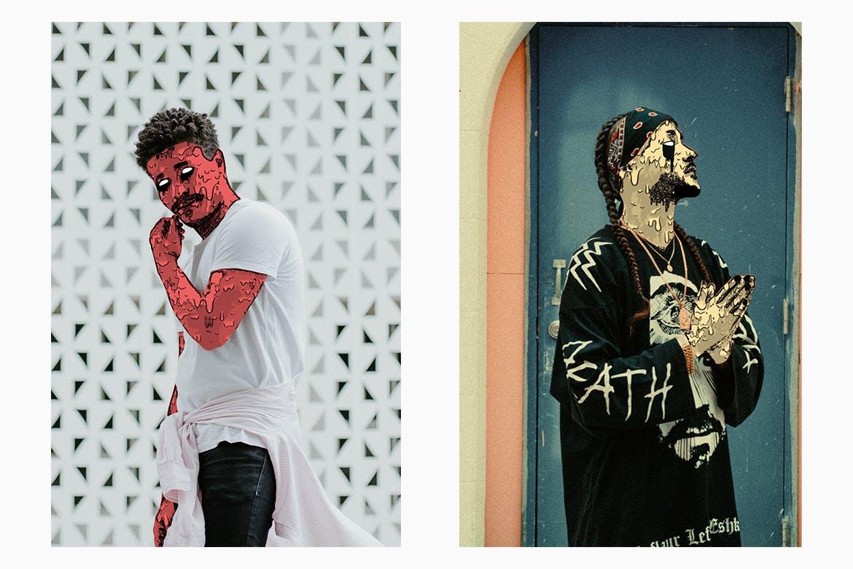 高端个性时尚震撼的GIF动画格式僵尸行尸走肉风格photoshop动作预设animated-zombie-grime-art-photoshop-action