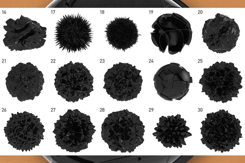 30个3D立体抽象球面质感几何图形元素背景底纹纹理集合(png)30-abstract-3d-spheres
