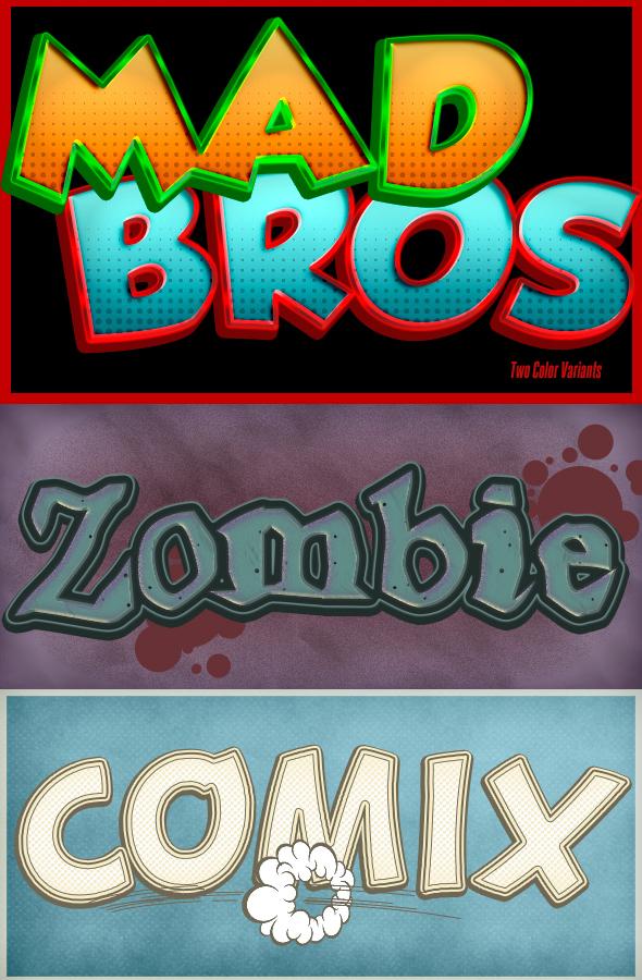 卡通和漫画风格的字体图层样式大合集下载[PSD,ASL] Cartoon and Comic Book Styles Bundle 4