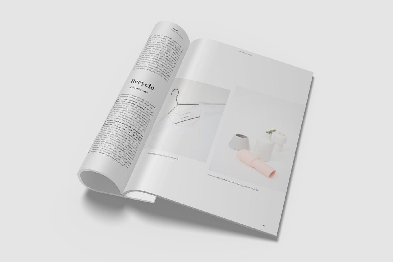 时尚高端简约多用途的品牌手册画册宣传册房地产楼书设计VI样机展示模型mockups minimalist-magazine-mockup