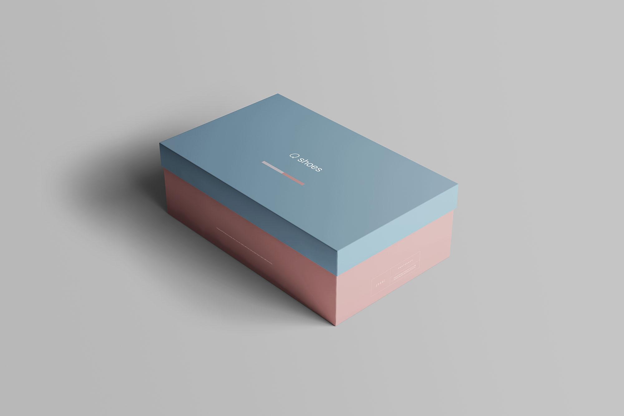 时尚高端专业的高品质鞋盒包装盒设计VI样机展示模型mockups Shoe Box Mockup
