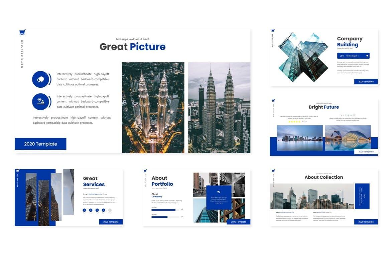 时尚高端专业的高品质CBD商业商务房地产提案powerpoint幻灯片演示模板(pptx) city-center-powerpoint-template