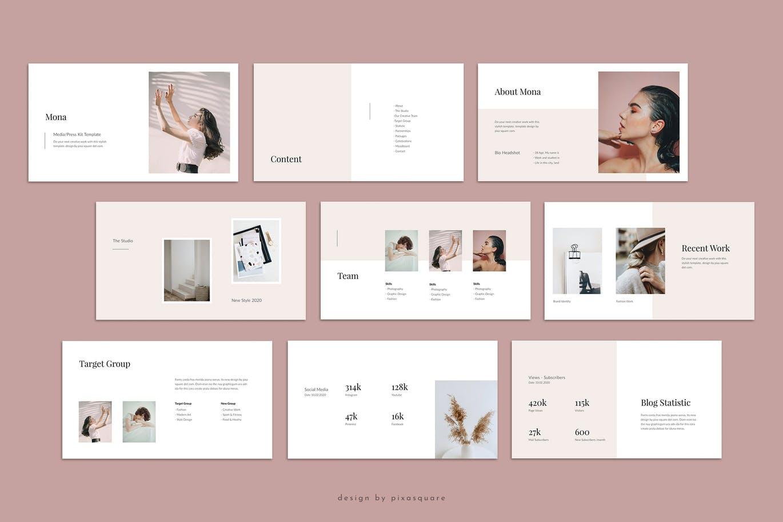 优雅时尚高端简约媒体新闻资料提案powerpoint幻灯片演示模板(pptx)mona-media-press-kit-powerpoint-template
