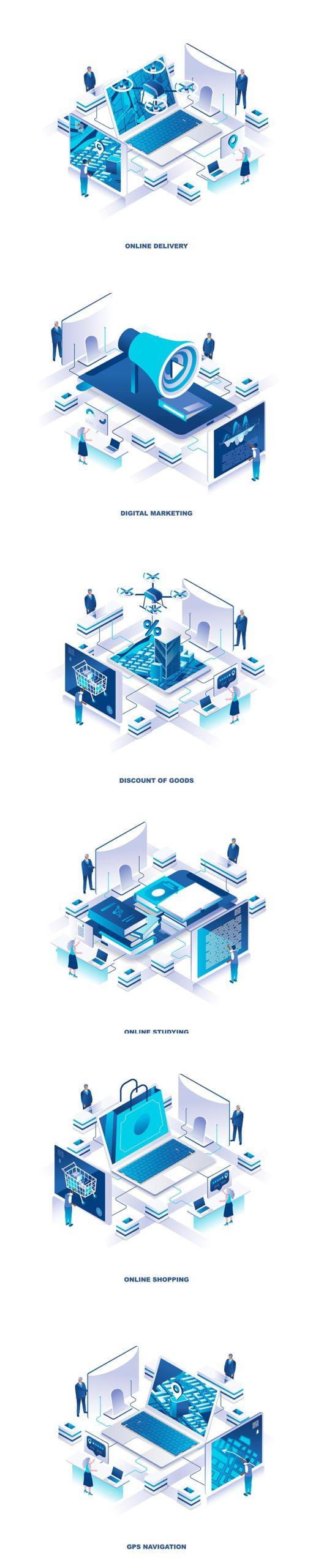多用途的时尚高端清新简约2.5D等轴等距3D立体插画海报banner着落页设计模板集合(AI,EPS,JPG,PNG,PDF,SVG)2.5D-data-isometric-banner-flat-concept