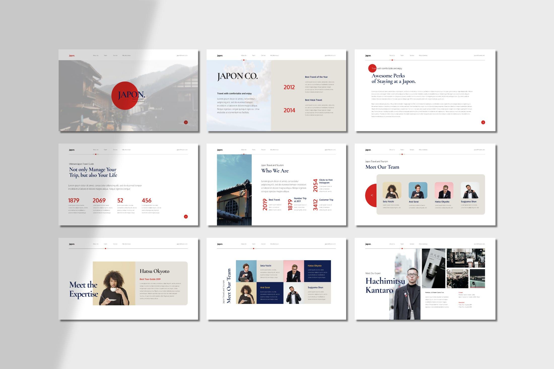 商务极简主义风格的PPT模板(PPTX)japon-presentation-powerpoint-TEUHCZ