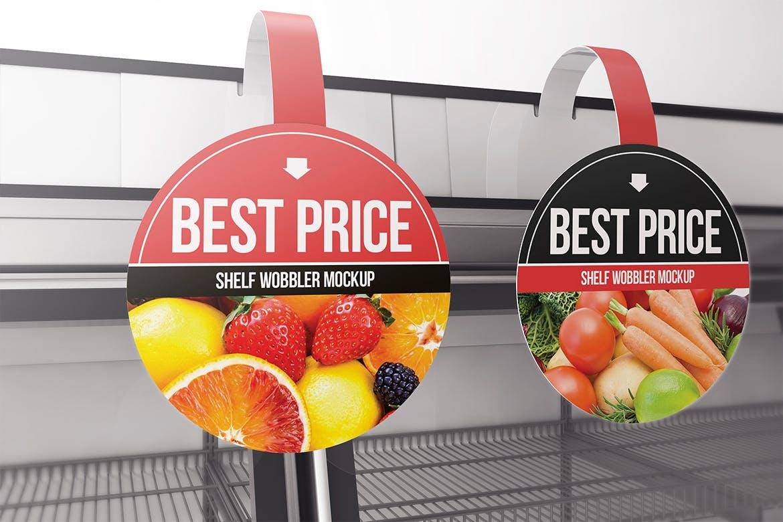 少见的超市圆形摇摆价签挂签设计VI样机展示模型mockups circle-shelf-wobbler-mockup