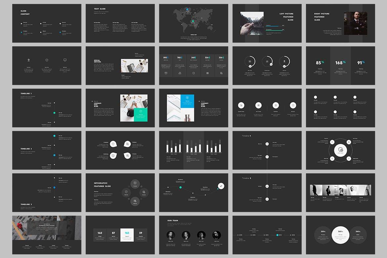 有设计感的酷炫多图表风格PPT模板下载(PPTX,深色+浅色) monokrom-powerpoint-2ABYKG8