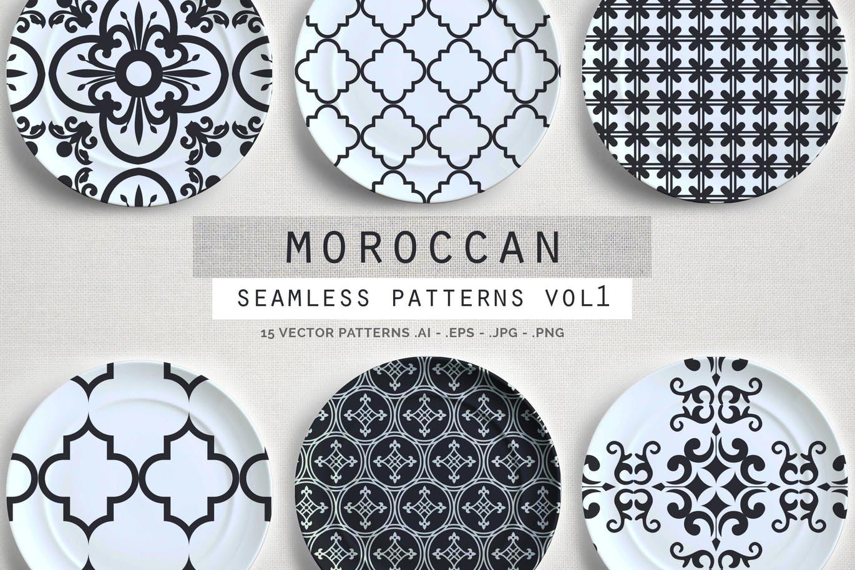 时装摩洛哥风格纹理无缝矢量背景波西米亚风格图案Moroccan Style seamless vector patterns vol1