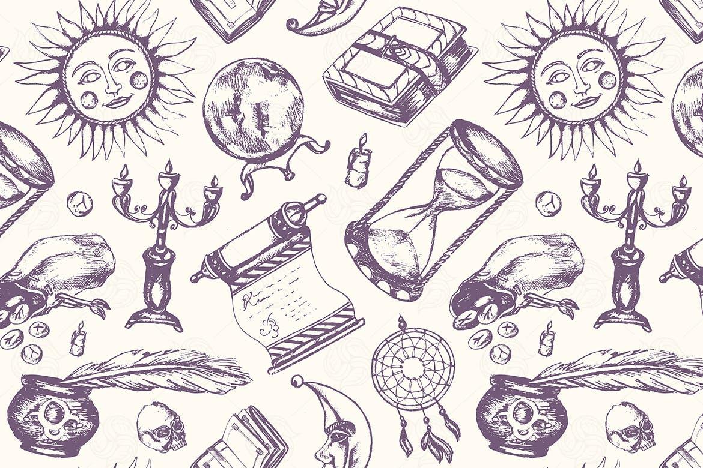 西方神秘魔法书羽毛笔墨水瓶水晶球蜡烛在头骨月亮太阳艺术背景图案纹理Mystical Arts - hand drawn seamless pattern