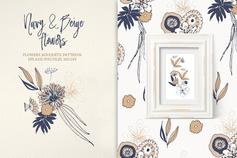 手绘剪贴画图形海军和米黄花鲜花和花束图案背景纹理Navy and Beige Flowers