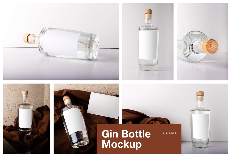 高品质的杜松子酒瓶包装设计VI样机展示模型mockups  gin-bottle-mockup