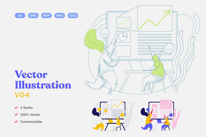 时尚高端简约清新专业的矢量插图插画(AI,EPS,PDF,PNG,SVG)vector-illustration