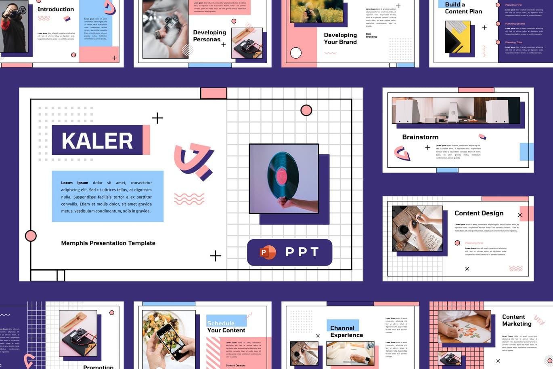 可爱女性时尚高端复古孟菲斯风格powerpoint幻灯片演示模板(pptx)kaler-memphis-powerpoint-template