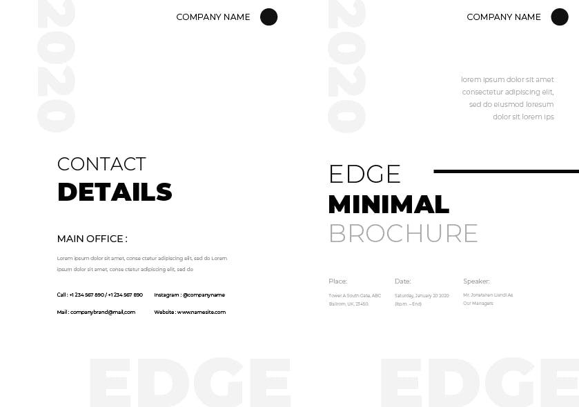 简约时尚高端多用途的多功能品牌手册画册宣传册杂志房地产楼书设计模板(AI,INDD,PSD)edge-brochure-template