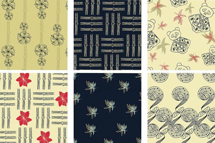 日本风格的无缝背景纹理素材下载(PSD,EPS) Line Art Japanese Pattern Collection