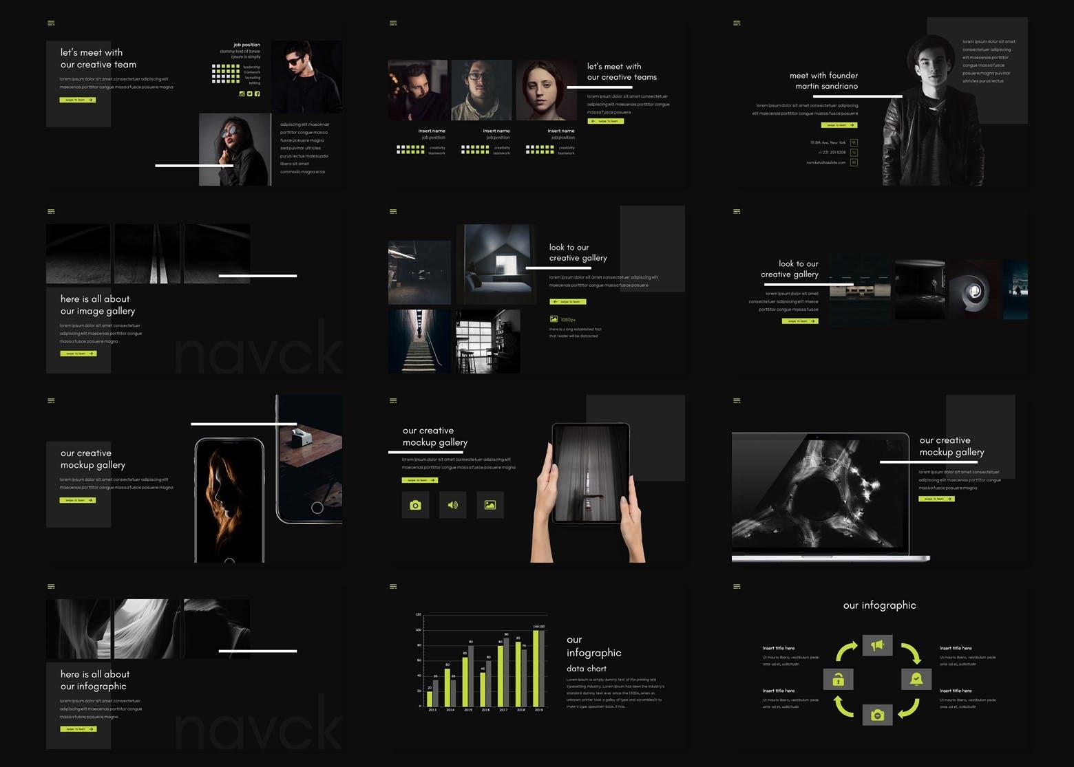 酷炫的深色产品介绍PPT模板下载[PPTX] navck-powerpoint-template-9UZG24L
