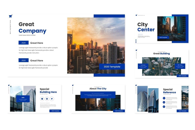 时尚高端多用途的商业商业质感keynote幻灯片演示模板(key)city-center-keynote-template