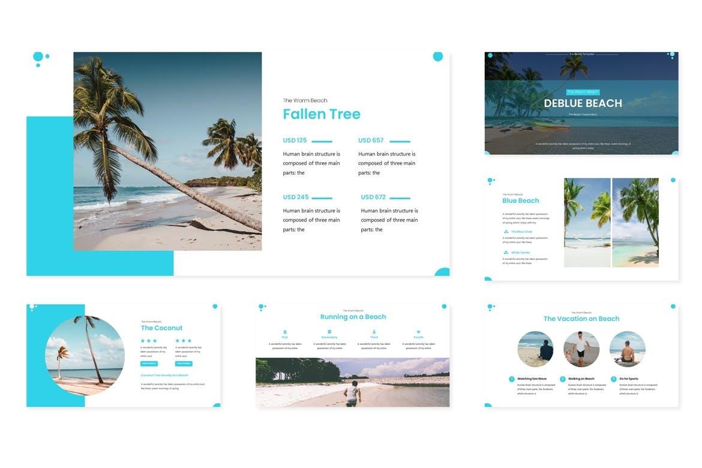 时尚高端多用途的简约多功能powerpoint幻灯片演示模板(pptx)deblue-beach-powerpoint-template