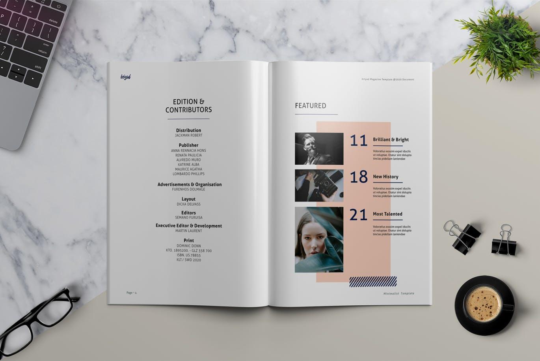 高端时尚简约多用途的高品质品牌手册画册宣传册杂志房地产楼书设计模板 kriyad-clean-magazine
