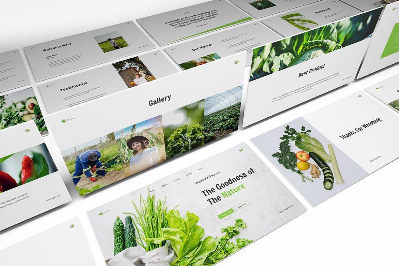 清新时尚绿色健康蔬菜水果主题的keynote幻灯片演示模板(key)vegetables-keynote-template