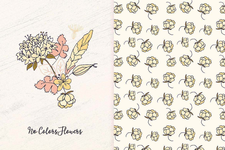 可爱时尚手绘插画图案纹理花卉图形植物纹理No Colors Flowers
