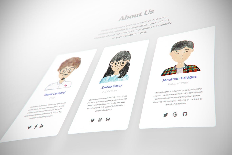 个性时尚高端清新可爱手绘水彩风格的人物插画插图头像集合(PSD,PNG)raiku-watercolor-avatar-creator