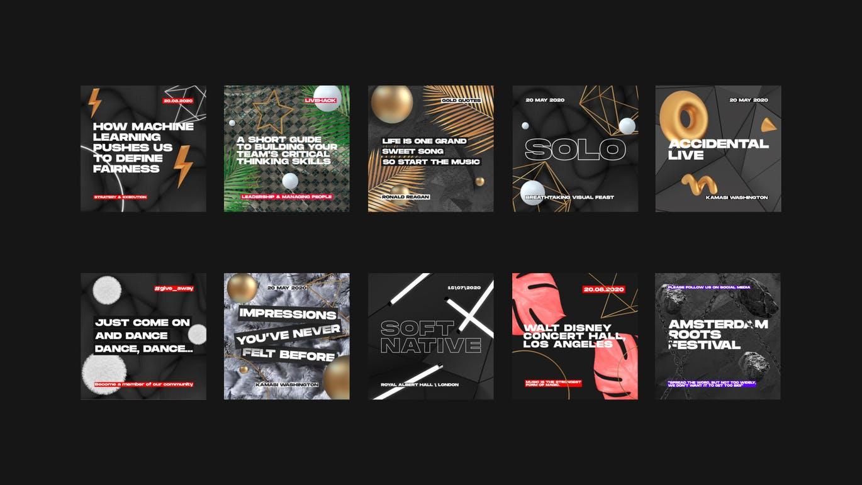 时尚高端多用途的高品质黑色配色的Instagram社交媒体banner海报设计模板集合(psd)black-instagram-pack
