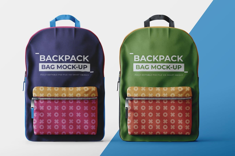 少见稀有的女性书包背包双肩包设计VI样机展示样机mockups模型 backpack-mock-up-template