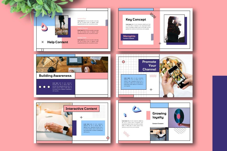 时尚高端简约新孟菲斯风格的keynote幻灯片演示模板(key)kaler-memphis-keynote-template