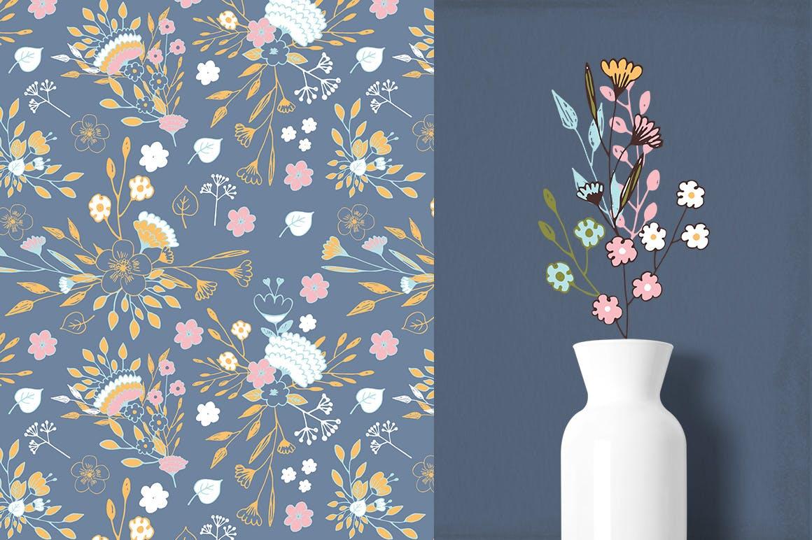 时尚手绘植物花卉鲜花图形图案品牌包装纹理背景Nice Flowers