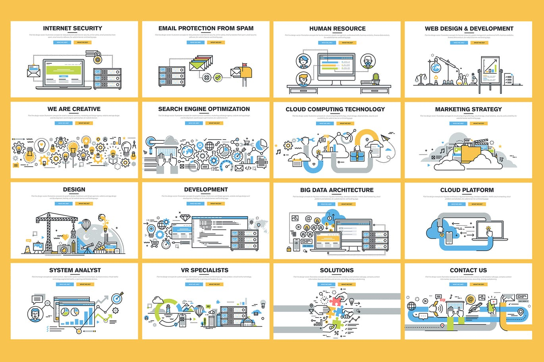 网页设计的各种创意插画素材下载(PSD,Ai)set-of-flat-line-banners-for-website-design-BKM33R