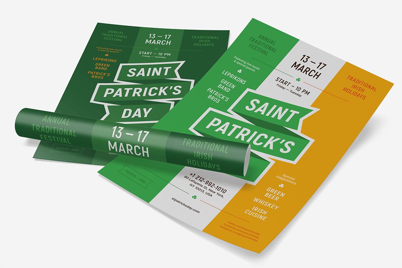 时尚高端简约清新专业的圣帕特里克节派对宣传单DM海报设计模板(AI,EPS)st-patricks-party-poster-template