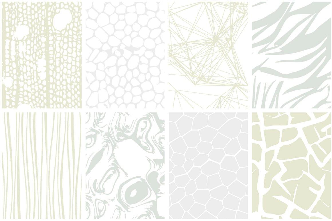无缝矢量图案的大集合自然图案植物昆虫背景纹理Organic Patterns - 2 color palettes
