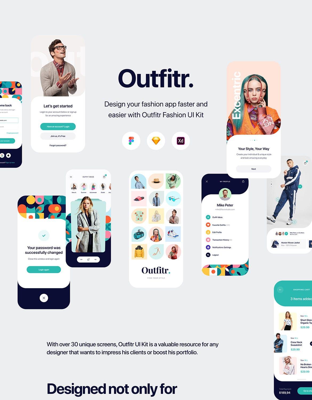 30多个高端专业APP设计服装电商购物UI KITS模板素材下载(Figma,Sketch,Adobe XD)outfitr-fashion-ui-kit
