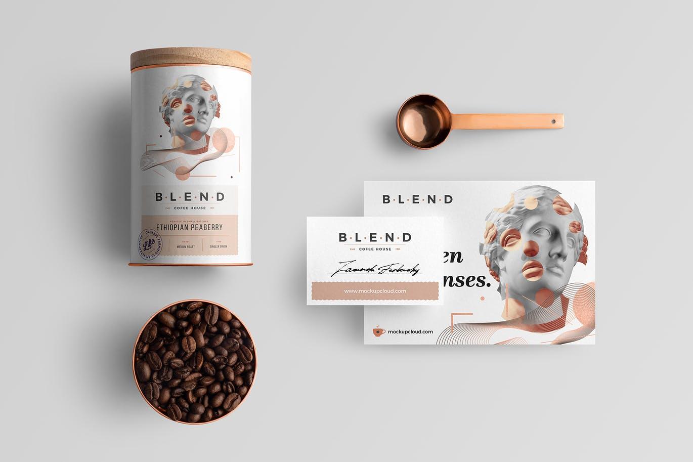 高端时尚咖啡品牌包装设计VI设计样机展示模型mockups blend-coffeehouse-branding-mockup-vol-3