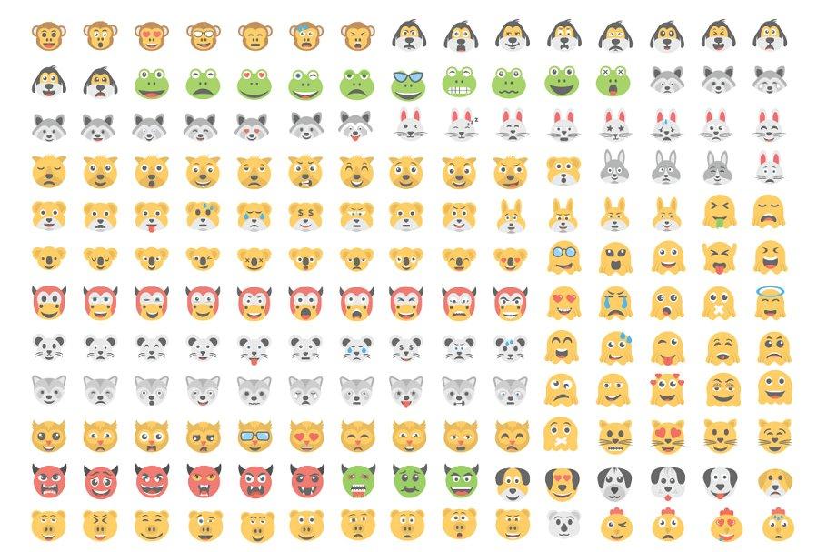1000个扁平的emoji笑脸可爱搞笑表情图标1000-Flat-Smiley-Icons