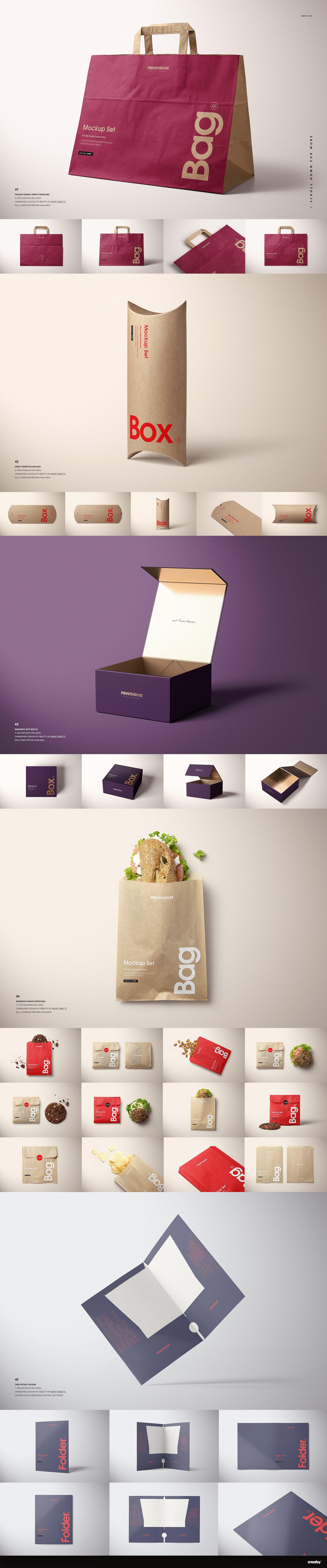 纸袋样机购物袋子包装/礼品盒包装合集样机[ PSD,112GB] Mockups Printhouse-Mockups-Bundle