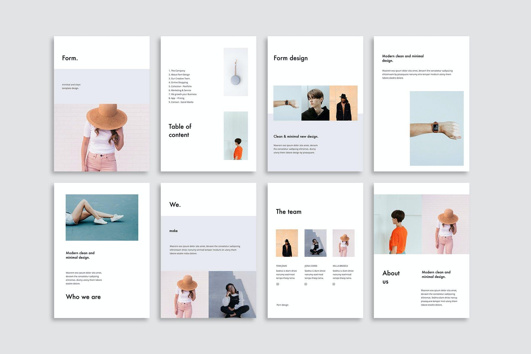 现代极简性冷淡风幻灯片演示模板优秀的风格PPT模板下载(PPTX) form-powerpoint-vertical-template-presentation