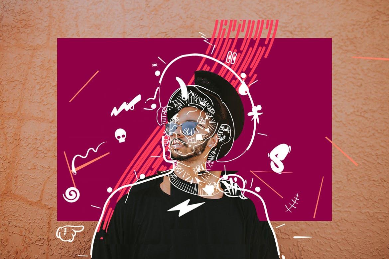 线条涂鸦人物动感活跃风格插画Photoshop动作下载[atn]scribble-doodle-collage-photoshop-action