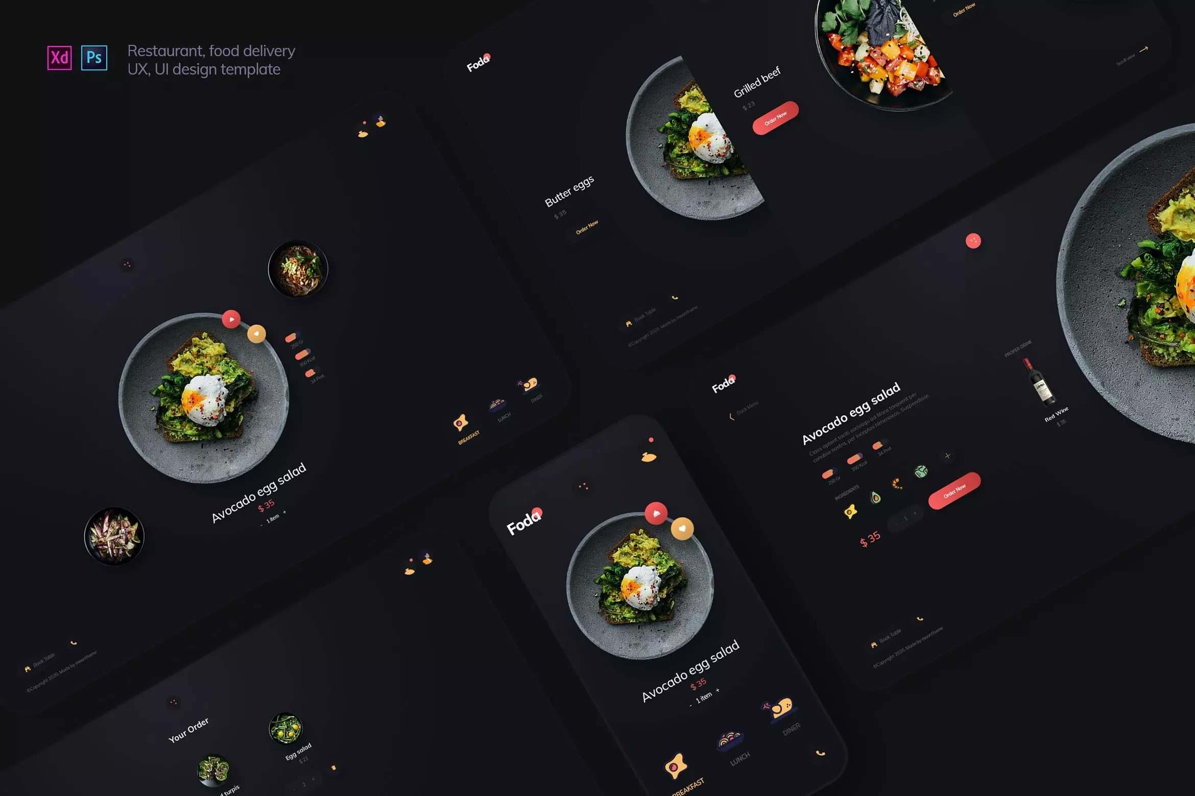时尚高端专业餐饮移动界面设计的送餐外卖APP UI KITS-XD,PSD  foda-retaurant-food-delivery-ux-and-ui-template