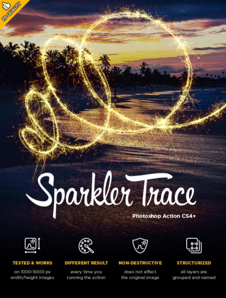 闪亮温馨的烟花线条特效灯光线条照片处理ps动作下载Sparkler Trace CS4+ Photoshop Action