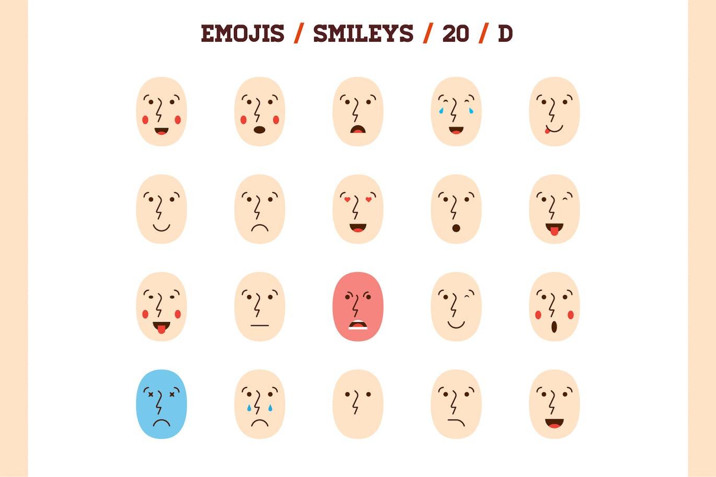 多用途的高品质少见稀有100个矢量和emoji表情/表情符号大集合100-emoji-smiley-bundle-pack-vol-1